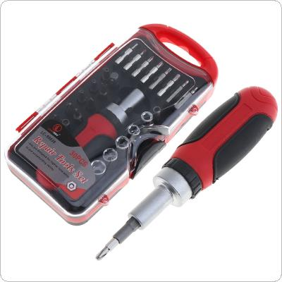 "Portable 30pcs Multifunction CR-V 1/4 ""l Tools Kit with Plastic Box for Motorcycle / Car Repair"