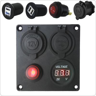 5V 3.1A Aluminium Plate Independent Switch Dual USB Combination Panel with Voltmeter for Cars