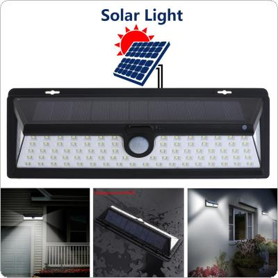 Outdoor Waterproof 90 LED 2835 SMD White Solar Power PIR Motion Sensor Wall Light with 3 Different Lighting Modes for Garden / Pathway / Yard