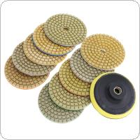 10pcs 3 Inch Flexible Wet Stone Polishing Disc with Sticky Plate for Diamond / Marble / Granite