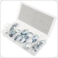 26pcs Mini Iron Material Hose Clamps Pipe Clips with Plastic Box for Water Pipe / Gas Pipe / Cooker Hood