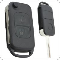 Black 2 Buttons Folding Replacement Key Remote Fob Shell Case No Chip with Uncut Car Flip Key for Benz