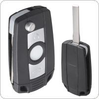 Black 3 Buttons Refit Key Remote Fob Shell Case No Chip with Uncut Car Flip Key for BMW