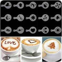 16pcs Plastic Garland Mold Fancy Coffee Printing Model  with Different Patterns for Kitchen Tools