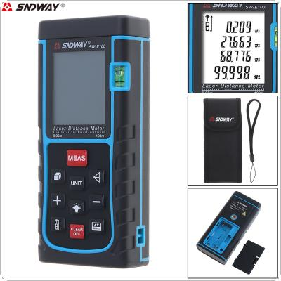 SW_E100 100M Portable Multi-function Laser Distance Meter with Level Instrument and Target Reflection Plate Support Single Distance and Continuous Measuring