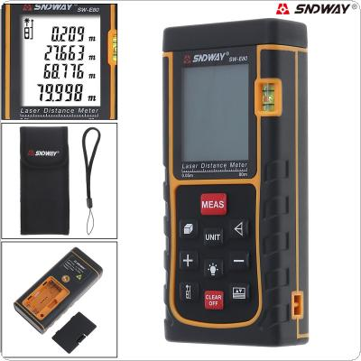 SW_E80 80M Portable Multi-function Laser Distance Meter with Level Instrument and Backlight Support Single Distance and Continuous Measuring