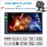 7 Inch 2 DIN Bluetooth In Dash HD Touch  Screen Car Video Stereo Player AM / FM / RDS Radio Support Mirror Link / Aux In with Rear View Camera