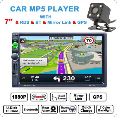 7 Inch 2 Din Bluetooth Auto Multimedia Car Stereo MP5 Player GPS Navigation AM / FM / RDS Radio Support Mirror Link / Aux In with Rear View Camera
