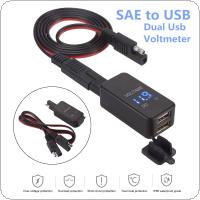12V-24V 2.1A SAE Dual USB Cable Adapter Waterproof Dual Port Power Socket Smart Phone Tablet GPS Charger with Voltmeter for Motorcycle Car Boat Marine