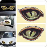 2pcs 12 x 7CM 3D Eye Pattern Reflective Material Creative Funny Stereoscopic Car Sticker Accessories
