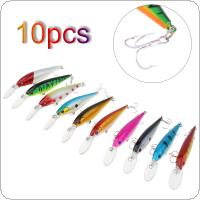 10pcs 10g 10cm Fishing Lure Fit Artificial Hard Tackle Crankbait Minnow with 3D Eyes and Steel Ball