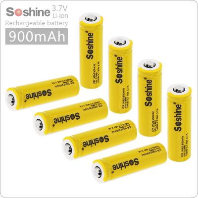 Soshine 8pcs 3.7V ICR 14500 900mAh Li-ion Rechargeable Battery with Safety Relief Valve + 2pcs Portable Battery Box for Flashlights / Headlamps
