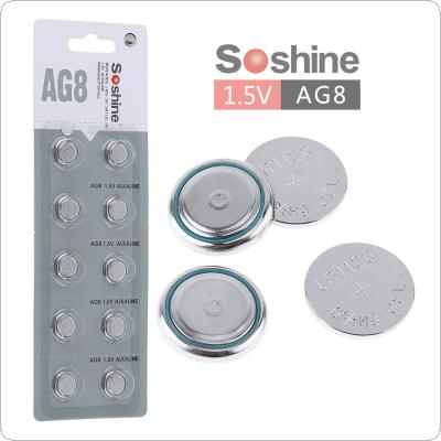 Soshine 10pcs AG8 LR1120 391 381 1.5V Alkaline Button Cell for Watch / Toy / Calculator