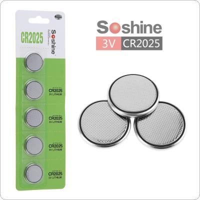Soshine 5pcs CR2025 3V 150mAh Button Cell Li-ion Batteriesfor Watch / Toy / Calculator