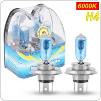 2pcs H4 100W 6000K White Light Super Bright Car HOD Halogen Lamp Auto Front Headlight
