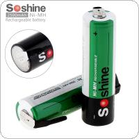Soshine 2pcs 1.2V 2500mAh Ni-MH AA R6 Rechargeable Battery with Nickel Sheet for Screwdriver / Drill