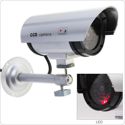 Silver Waterproof False Emulational Outdoor Fake Dummy Security Camera Decoy with IR Wireless Blinking Red LED