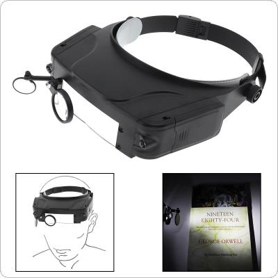 11X Headband Type Magnifying Glass with LED Light and 3 Magnifying Lens for Jewel Repair