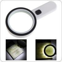 30X 80MM Effective Diameter Handheld Optical Glass Magnifying with 12 LED Lights for Antique Appreciate Reading