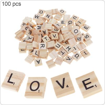 100pcs Natural Wooden Letter 26 English Alphabet Scrabbles Number Crafts English Words  Decor Word Toys Gifts For Children IQ Props
