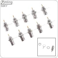 10pcs 50KY Pure Copper BNC Q9 Plug with Brazing Sheet and Copper Nut for Oscilloscope / Instrumentation / Video Monitoring