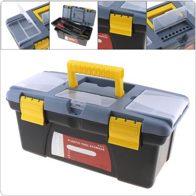 Large Portable Plastic Hardware Tool box with Storage Box and Black for Home or Outdoor Finishing Debris