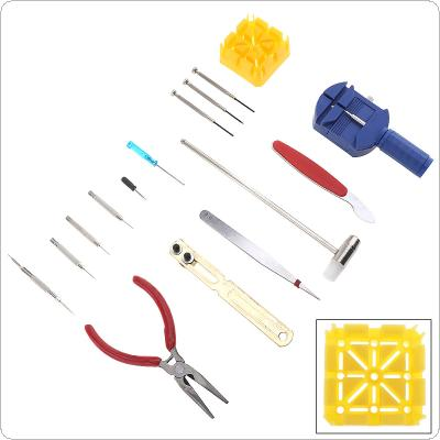 16pcs/set Multifunction Precision Watch Opening Repair Combination Tools with Storage Canvas Bag for Home / Office Use