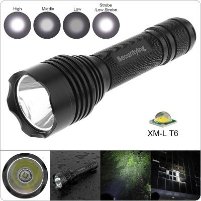 SecurityIng Waterproof CREE XM-L T6 LED Flashlight Torch Lamp with 5 Switch Modes and Handles Rope for Household / Outdoor Activities / Hiking