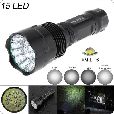 SecurityIng Super Bright 15x XM-L T6 LED 5000Lumens Waterproof Flashlight Torch with 5 Modes Light Support 18650 Rechargeable Battery for Household / Outdoor