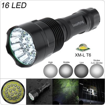 SecurityIng Super Bright 16x XM-L T6 LED 5400Lumens Waterproof Flashlight Torch with 5 Modes Light Support 18650 Rechargeable Battery for Household / Outdoor