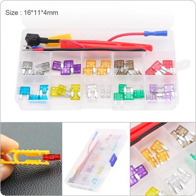 40pcs/set Colorful Small Blade Fuse Assortment Take Electrical Appliances Set with Plastic Box for Cars