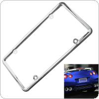 Universal Waterproof Car License Plate Box with Mirror Polished Chrome and Screw Cap for Most Cars