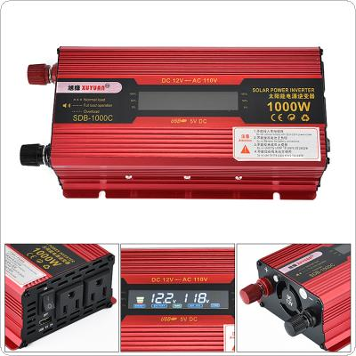 1000W 12V 24V to AC 230V 110V Aluminum Alloy Case Solar Power Car Inverter with LCD Display Converter