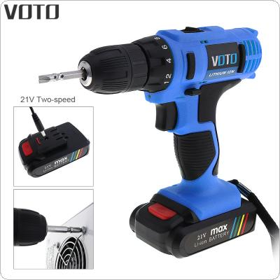 VOTO AC 100 - 240V Cordless 21V Electric Screwdriver with Lithium Battery and Two-speed Adjustment Button for Handling Screws / Punching