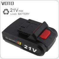 VOTO Universal 21V Max 5 x 2000mAh Li-ion Rechargeable Battery with Flat Push Type and 2 Slots for Electric Drill / Electric Screw Driver