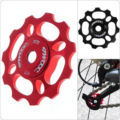 Universal CNC Aluminum Alloy 11T Bicycle Rear Derailleur Pulley Guide Wheel Cycling Ceramics Bearing Idler Pulley for MTB / Road Bike