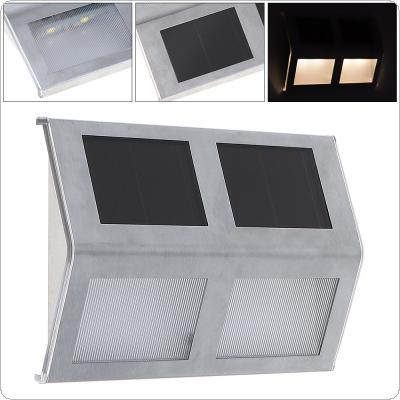 Outdoor Waterproof 4 LED  Solar Powered Light Wall Lamp with Stainless for Stair / Fence / Garden / Yard