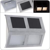 Outdoor Waterproof 2 LED  Solar Powered Light Wall Lamp with Stainless for Stair / Fence / Garden / Yard