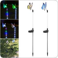 2pcs Solar LED Stainless Steel Butterfly Lamp with Light-Operated and On / Off Control for Garden Decoration