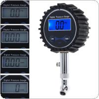 Portable ABS + Metal Precision Electronic Digital Tire Gauge with Short Pressure Measuring Valve and Blue Backlight Night Vision for Car Tire