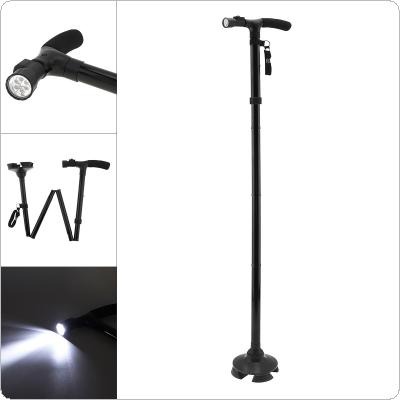 Multifunctional Aluminum Trusty Cane Walking Stick with LED Light for Old People