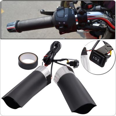 1 Pair 12V 20W Motorcycle Universal Electric Heated Handle with Ship Type Switch and Heat-Shrinkable T Bush
