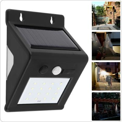 Outdoor Waterproof 16 LED Rechargeable Solar Power PIR Motion Sensor Wall Light with Micro Charge Hole for Garden / Yard / Driveway