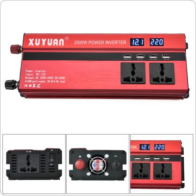 2000W 12V 24V to AC 220V 110V Aluminum Alloy Case Car Inverter with 4 USB Port and Dual LCD Display Converter