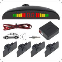 4 Sensors 16.5mm Original Car Flat Parking Sensor Crescent Auto Reverse Backup Radar Detector System with LED Display and Wings for Cars