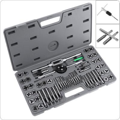 60pcs/set Multifunction Alloy Steel Metric and British Screw Tap & Die Thread Cutting Tapping Hand Tool Kit with Plastic Box for Machine Hand Use