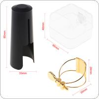 Gold-plated Metal Ligature Tenor Sax Mouthpiece Clip with Plastic Cap for Tenor Saxophone