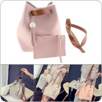 2pcs/set Fashion Women Single Shoulder Bag with Small Packet and Bucket Type for Small Change Mobile Phone
