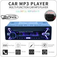12V 1 Din Bluetooth Car Radio Audio Stereo MP3 Player 7 Color Light Front Detachable Panel Support SD / FM / AUX / USB