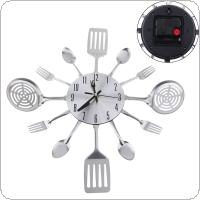 Silver Fashion Simple 3D DIY Wall Clock Cutlery with Tableware Forks for Kitchen Living Room